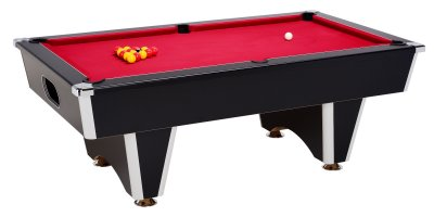 Black Elite Pool Table with Red Cloth