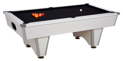 White Elite Pool Table with Black Cloth