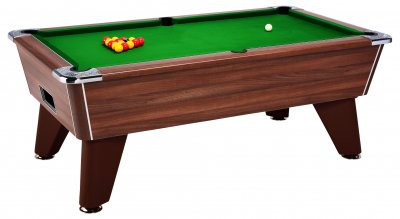 Omega Pro Slate Bed Pool Table - Dark Walnut Cabinet with Green Cloth