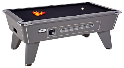 Omega Pro Onyx Grey Coin Operated Pool Table - Mechanical Mech with Black Cloth