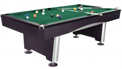 Dynamic Triumph Black Pool Table Fitted with STANDARD Yellow Green Cloth