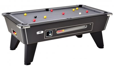 DPT Omega Slate Bed Pool Table - Coin Operated Mechanical Table in Black with Grey Cloth