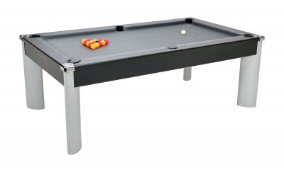Fusion Black Pool Table with Grey Cloth