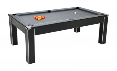 DPT Vector Black Pool Dining Table with Grey Cloth