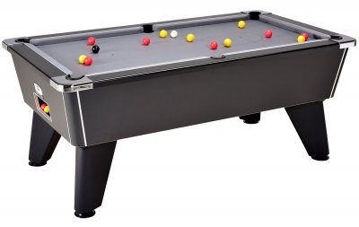 Omega 2.0 Slate Bed Pool Table - Black Cabinet with Silver Cloth