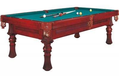Dynamic Berlin American 8ft Pool Table - Mahogany Finish with STANDARD Blue Green Cloth