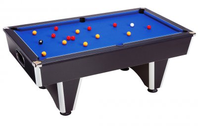Black Elite Pool Table with Blue Wool Cloth