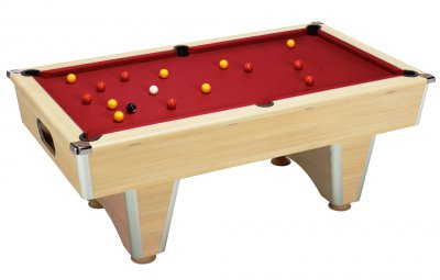 Oak Elite Pool Table with Cherry Red Wool Cloth