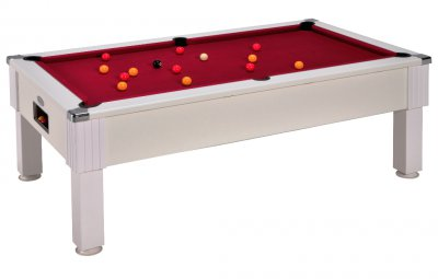 DPT Consort White Pool Table with Cherry Red Wool Cloth