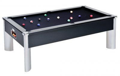 Monarch Fusion Black Pool Table with Black Wool Cloth