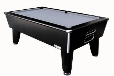 Optima Classic Slate Bed Pool Table - Black Cabinet with Silver Smart Cloth
