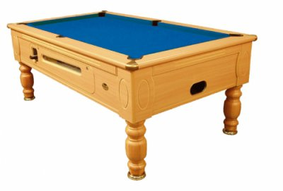 Optima Coin Operated Pool Table - Beech Finish with Blue Cloth