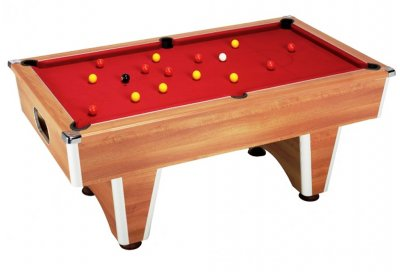 Walnut Elite Pool Table with Cherry Red Wool Cloth