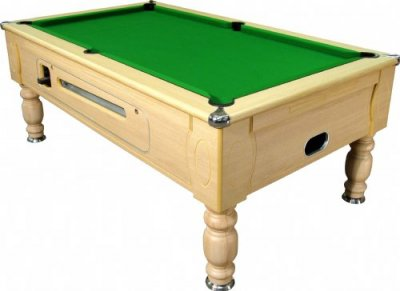 Optima Coin Operated Pool Table - Light Oak Finish with Green Cloth