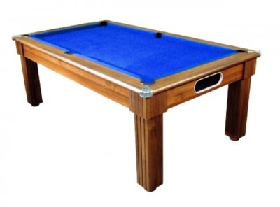 Florence Pool Dining Table in a Dark Walnut Finish with Blue Cloth