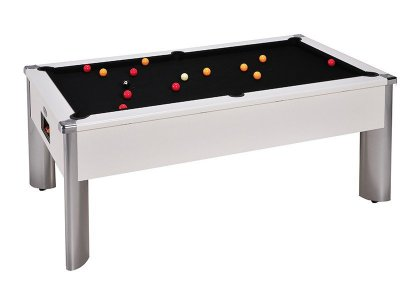 Monarch Fusion White Pool Table with Black Wool Cloth