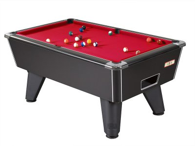 Black Winner Pool Table with Red Wool Cloth