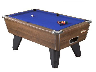 Walnut Winner Pool Table with Blue Wool Cloth