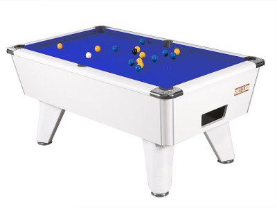 White Winner Pool Table with Blue Wool Cloth