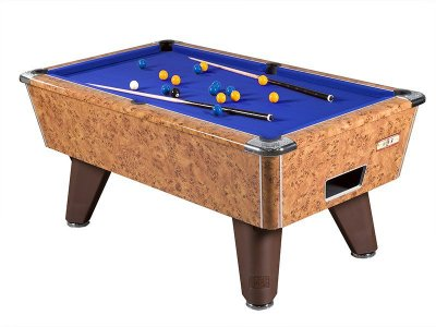 Amberwood Finish Winner Pool Table with Blue Wool Cloth