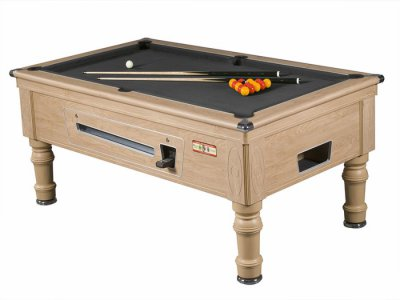 Prince Slate Bed Pool Table - Oak Cabinet Finish