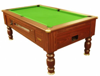 Richmond Coin Operated Pool Table - Mahogany Finish with Green Cloth