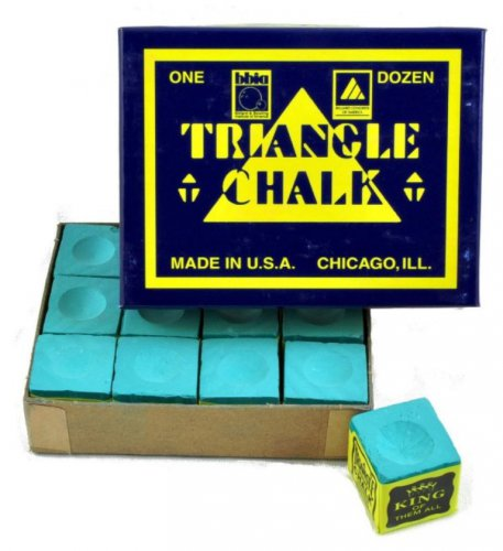 Triangle Pool Cue Chalk 1 box of 12 Cubes