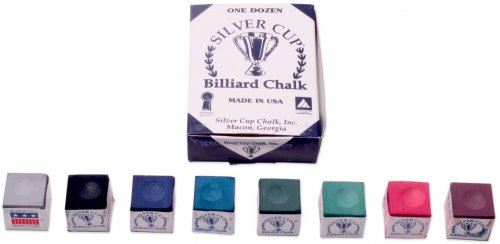 Pool Cue Chalk Silver Cup Chalk Box of 12