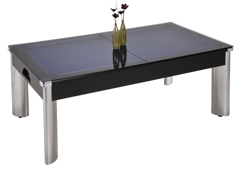 Fusion Pool Dining Table   Black Cabinet Finish With Smoked Glass Dining  Tops Part 92