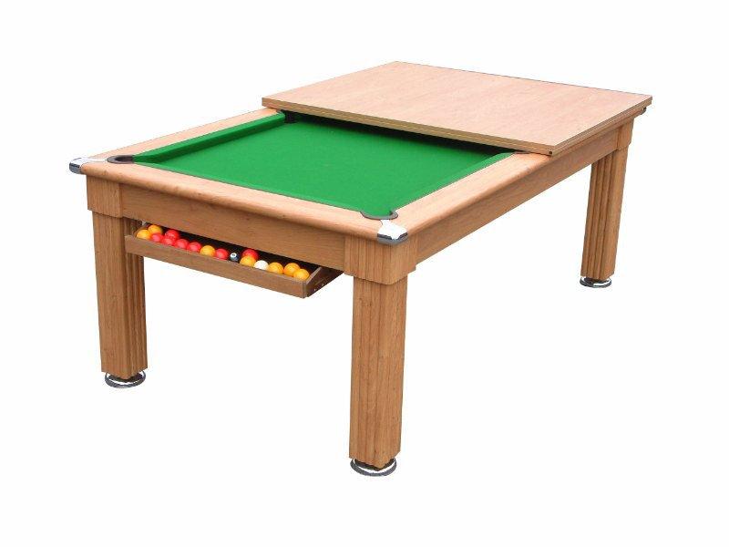 Traditional pool dining table in oak or dark walnut pool for Oak beauty pool table